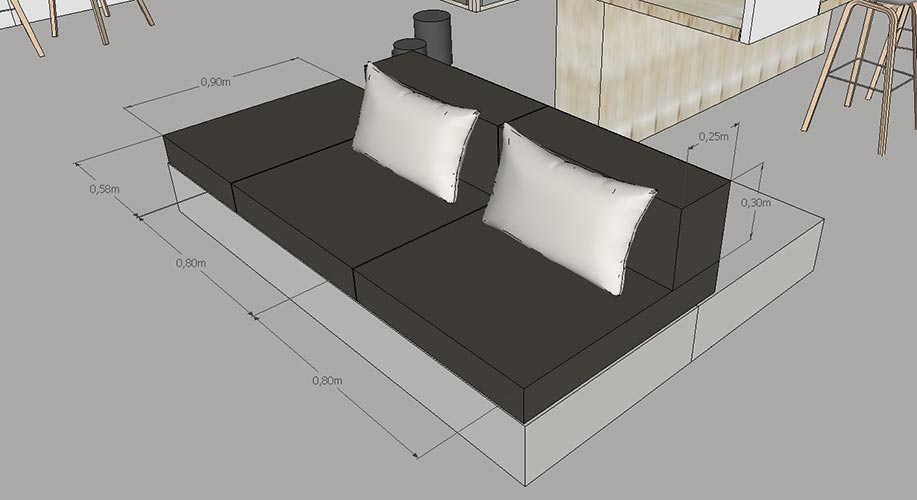 banquette modulable sur mesure mr g le cannet 3 pouf. Black Bedroom Furniture Sets. Home Design Ideas